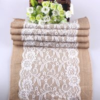 Wholesale 30cm Widthx108cm Length Vintage Burlap Lace Hessian Table Runner Natural Jute Wedding Party Decoration