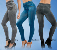 Wholesale Fitness Clothing for Women Jeggings Jeans for Women Seamless Slim Jeggings Printed Leggings Real Pocket Jeans Look