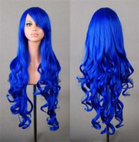 Wholesale 2016 Heat Resistant Fiber Wig Full Head Long Wavy Cosplay Wigs Blue Black White Red Purple Orange Cosplay Synthetic Wig