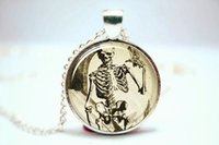 american gothic photo - 10pcs Skeleton Necklace Halloween Pendant Gothic Jewelry Silver Plate Glass Cabochon Photo necklace