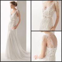Wholesale 2015 New Bohemian lace Wedding Dresses With Illusion Back V Neck Beaded Chiffon Bridal Gown Nature Waist Court Train plus size Beach LTT11