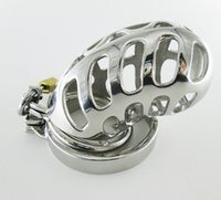 large cock cage - Locking Male Chastity Device Stainless Steel Crafts sexy Cock Cage With Double Ring Large Size Chastity Cage Adult Sex Toys