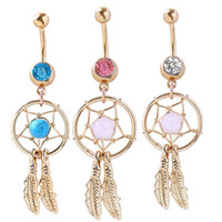 Wholesale Body jewelry Dream Catcher style navel belly ring BLUE Pink WHITE stones drop shipping wholesaler Freeshipping