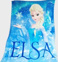 Wholesale Baby Soft Flannel Blanket Cartoon Frozen Elsa Printed Children Warm Plush Bedding Rug As Kids Bath Towel Quilts Low Price Free Ship