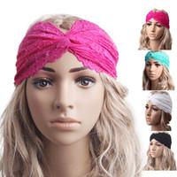 Wholesale 2015 New Fashion Women Headwear Twist Sport Yoga Hollow Lace Headband Turban Headscarf Wrap Hairband