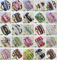Wholesale NEW arrived DIY Charm Jewelry fashion Leather Cute Infinity Bracelets Silver pick style Leather Bracelets S76 S100 stely