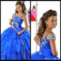 Wholesale Modern Fantasy Kids Blue Flower Girl Dresses For Weddings Crystal Organza Long Girls Pageant Dresses Little Girl Pageant Dresses