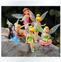 Wholesale Lovely Anime Cartoon Tinkerbell Fairy PVC Action Figures Toys Girls Dolls Gift set Ship
