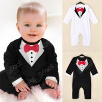 Wholesale Baby Boy Kids Children s Long Sleeve Fancy Gentlemen Jumpsuit Baby Bowknot Jumpsuit Romper Clothes SV011007
