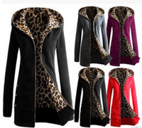 Wholesale Womens Cardigan Clothing New Winter Leopard Hooded Sweatshirts Thick Velvet Plus Size Europe and America Women s Hoodies Jacket Coats
