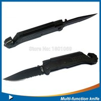 multi-tools and knives - Survival Knife with LED Torch Fire Starter Belt Cutter Window Breaker Hammer and black pounch