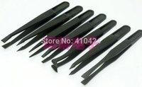 Wholesale 7PCS Black Anti static Carbon fiber composite Plastic Tweezer Heat Resistant Repair Tool Straight Bend order lt no track
