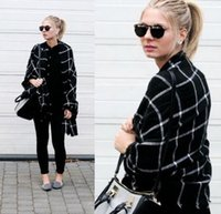 Wholesale Fashion Lady Women black and white squares Blanket Cozy Tartan Scarf Wraps shawl