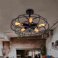 american electric lighting - Loft Vintage European Simple Personality Ceiling Light American Country Wrought Iron Electric Fans Cafe Bar Lamp Restaurant Ceiling Light