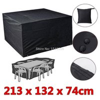 Wholesale 6 Seaters Dust Waterproof Outdoor Garden Furniture Rain Cover Shelter Rattan For Cube Table Chair Black small order no tracking