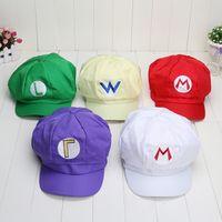 al por mayor telas de super mario-Mario sombreros 5 Color Super Mario Bros Luis del casquillo del sombrero de Cosplay del Anime Muy linda espesado Tela