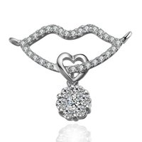 Cheap 18K white gold diamond pendant Sexy Lips and flowers diamond pendant