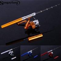 Wholesale HOT Mini Telescopic Ice Fishing Rod With Fishing Reel Fishing Lines Portable Pocket Aluminum Alloy Pen Rod Pole Fishing Rod
