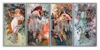 alphonse mucha paintings - BEER AD BY MUCHA C Alphonse Mucha Canvas Portrait Paintings Wall Art High quality Hand painted