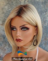 blonde wigs short hair - Brazilian Human Hair Bob Blonde Lace Wigs With Dark Roots Density Glueless Silk Top Full Lace Wigs Lace Front Wig for White Women