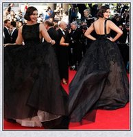 Cheap 2014 Cannes Sonam Kapoor Celebrity Dress In Elie Saab Ball Gown Backless Bateau Neck Chapel Train Black Color Red Carpet Party Dresses XS