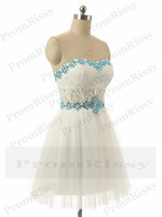 Wholesale 2015 Short Lace Ivory Strapless Homecoming Party Dress for Sale PR1001