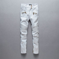american recycle - WOMEN BALMAIN MOTO WHITE SKINNY BIKER JEANS WITH GOLD ZIPPERS Brand New Sz