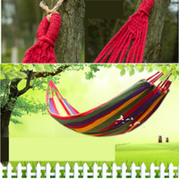 Cheap Free shipping 100% Cotton Camping hammock swing outdoor thickening canvas hammock casual single double bearing