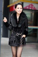 leather and fur garment - Women Luxury Real Mink fur and Sheep leather jacket with Fox Fur collar lady winter Mink fur Garments outerwear