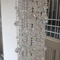 al por mayor ensartar cuentas navidad-Nueva llegada brillantes granos de acrílico cristal decoración del árbol de la cadena del grano de cadena cristalino de la guirnalda de Navidad Hilos de la boda suministra el envío gratuito