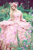 victorian ball gown wedding dresses - 2015 Spring Corset Victorian Ball Gown Wedding Dress Strapless Long Sleeves Gothic Pink Flowers Lace Wedding Gowns Personalized Custom FY884