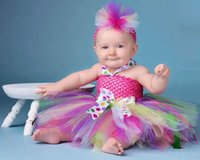 Model Pictures Baby Bow Real Image Thanksgiving Girls Dress Ball Gown Short MiNi With Bow and and Headwear Colorful Tulle Flower Girls Dresses AN19