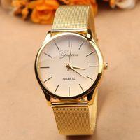 Round best name brand dress - Gold watch Full stainless steel woman fashion dress watches men brand name Geneva quartz watch best quality G free ship