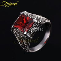 antique ruby ring men - FG US SIZE Retro Vintage Jewelry Antique Silver Plated Red Ruby Rings For Women Men