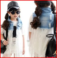 ruffle yarn - 2015 Fashion Girls Denim Lace Jacket Dress Kids Clothes Child Yarn Sleeveless Outwear Dresses Children Clothing Yarn Vest Jackets Tutu Dress