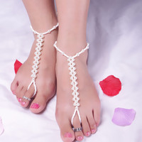 Barefoot Sandals beaded toe rings - Lady Fashion Handmade Beaded Pearl Toe Ring Ankle Bracelet Chain Sandal Foot Beach JEWELRY Hot