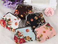 best handbag wholesale - 120pcs best price roses flower hasp small bag for women clutch handbag flower coin purse canvas key holder wallet D439