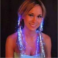 Wholesale 10pcs Light Up Hair Extension Flash glowing LED Braid Novelty Decoration for Party Holiday Hair Extension by optical fiber