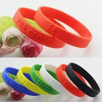 Wholesale 6pcs For Paul George Basketball Star Silicone Bracelet Sport Men Embossed Wristband Bangles