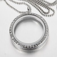 Cheap 30mm Floating Locket Pendant Living Memory Glass CZ Crystal Paved Round Circle Pendant Charms Necklace DIY Jewelry