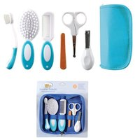 Wholesale 2015 Baby Grooming Care Manicure Set Infant Toothbrush Hair Brush Comb Emery Nail File Board Nail scissors Nail Clipper A5