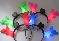 antler lighting - hot sale Luminous dragon horn antlers head hoop ktvled concert with hairpin Halloween lights Christmas decoration items