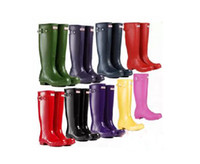 Wholesale NEW H brand WOMEN S Rainboots Tall Height Rubber Waterproof Wellies Rain boots Water Shoes women Rain Boots Ms glossy Wellington Knee Boots