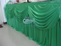 Wholesale GREEN Color Ice Silk Table Skirt Used For Round Or Rectangular Tables Include Swag Drape