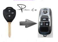 al por mayor toyota camry clave remota-KL117 remodelación de reemplazo caso del tirón del coche plegable Chrome Remote Key Fob Shell para Toyota Camry Corolla Avalon 3 Botones