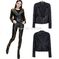 pelle pelle jackets - Cool Punk Women Spiked Motorcycle Black Leather Jacket With Studs Giacca Pelle cazadoras mujer cuero