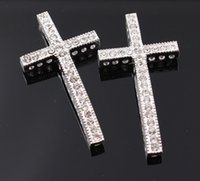 Easter sideways cross charm - cm NEW Crytal Long Curve Sideways Cross Connector Charm With Hole Rhinestone Crosses For Bracelet