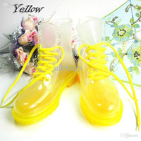 Wholesale New Fashion Ankle Lace Up Transparent Crystal Candy Color Flat Rain Boots For Women P159 salebags