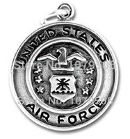 air force souvenirs - Personalized Good Souvenir a Antique Silver plated US Air Force badge Charm Jewelry accessory