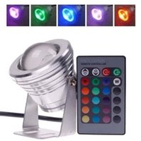 Wholesale 10W v underwater RGB Led Light LM Waterproof IP68 fountain pool Lamp colors change with IR Remote freeshipping